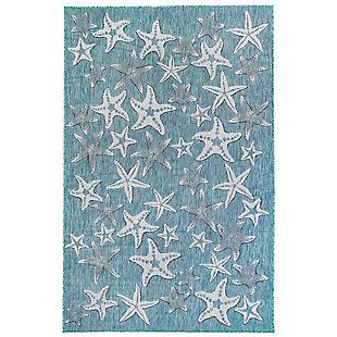 "Transocean Mateo Ocean Stars Indoor/Outdoor Rug Aqua 4'10""x7'6"", Blue, large"