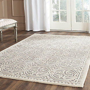 Cambridge 5' x 8' Wool Pile Rug, Silver/Ivory, rollover