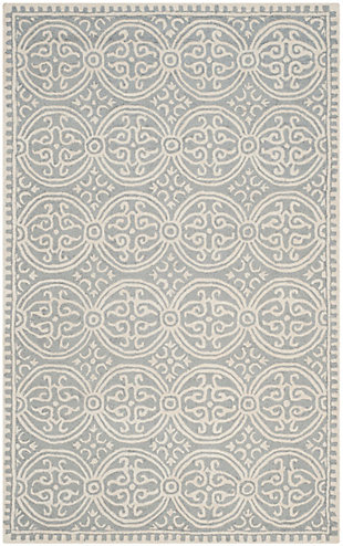 Cambridge 5' x 8' Wool Pile Rug, Silver/Ivory, large