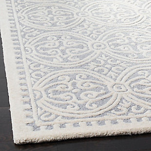 Cambridge 6' x 9' Wool Pile Rug, Silver/Ivory, rollover