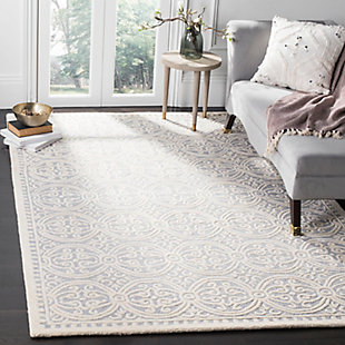 Cambridge 6' x 9' Wool Pile Rug, Silver/Ivory, large