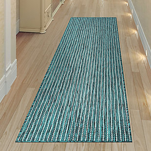 "Transocean Mateo Solid Indoor/Outdoor Rug Aqua 4'10""x7'6"", Blue, rollover"