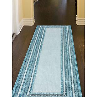 """Transocean Mateo Basic BoRounder Indoor/Outdoor Rug Aqua 4'10""""x7'6"""", Blue, rollover"""