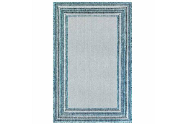 "Transocean Mateo Basic BoRounder Indoor/Outdoor Rug Aqua 4'10""x7'6"", Blue, large"
