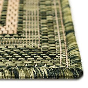"Transocean Mateo Basic BoRounder Indoor/Outdoor Rug Green 23""x7'6"", Green, large"