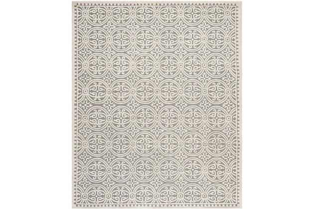 Cambridge 8' x 10' Wool Pile Rug, Silver/Ivory, large