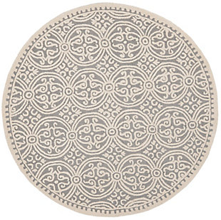 Cambridge 8' x 8' Round Wool Pile Rug, Silver/Ivory, large