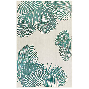 "Transocean Mateo Botanical Indoor/Outdoor Rug Aqua 4'10""x7'6"", Blue, large"