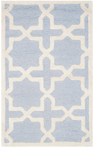 Cambridge 2' x 3' Wool Pile Rug, Light Blue/Ivory, rollover