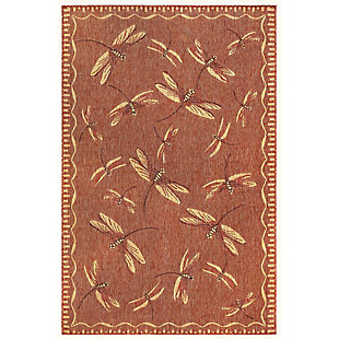 """Transocean Mateo Flying Beauty Indoor/Outdoor Rug Red 4'10""""x7'6"""", Red, large"""