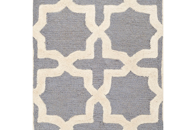 Cambridge 2' x 3' Wool Pile Rug, Silver/Ivory, large
