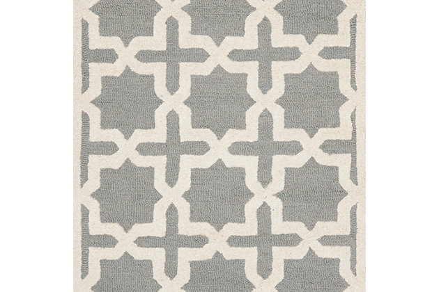 Cambridge 4' x 6' Wool Pile Rug, Silver/Ivory, large