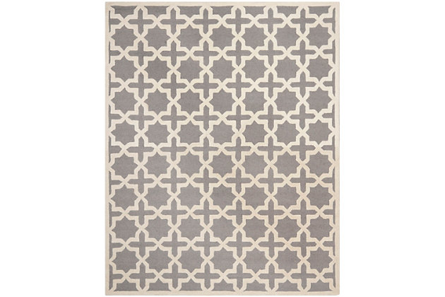 Cambridge 8' x 10' Wool Pile Rug, Silver/Ivory, large