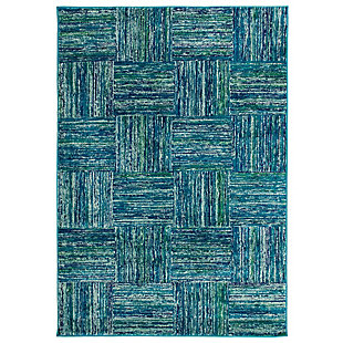 "Transocean Carnivale Medley Indoor Rug Aqua 5'3""x7'6"", Blue, large"