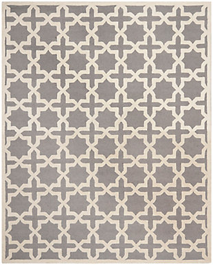 "Cambridge 7'6"" x 9'6"" Wool Pile Rug, Silver/Ivory, large"
