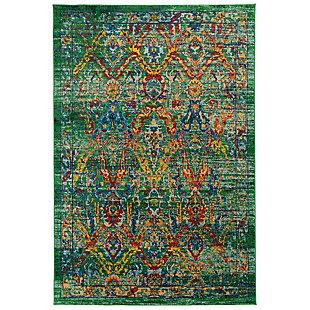 "Transocean Carnivale Tribal Diamond Indoor Rug Green 5'3""x7'6"", Green, large"