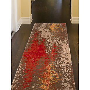 "Transocean Beekman Speckle Indoor/Outdoor Rug Sunrise 4'10""x7'6"", Orange, rollover"