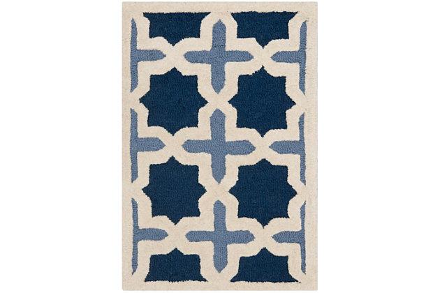 Cambridge 2' x 3' Wool Pile Rug, Blue/Ivory, large