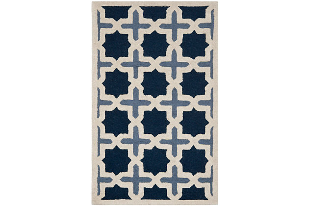 Cambridge 3' x 5' Wool Pile Rug, Blue/Ivory, large