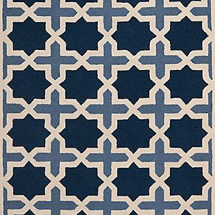 Cambridge 4' x 6' Wool Pile Rug, Blue/Ivory, large