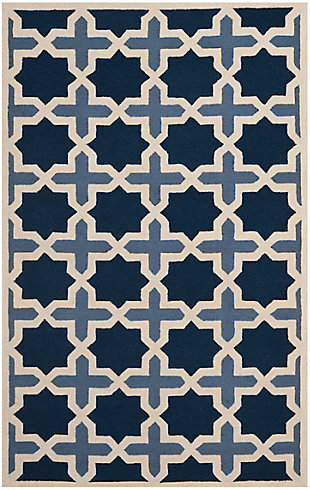 Cambridge 5' x 8' Wool Pile Rug, Blue/Ivory, rollover