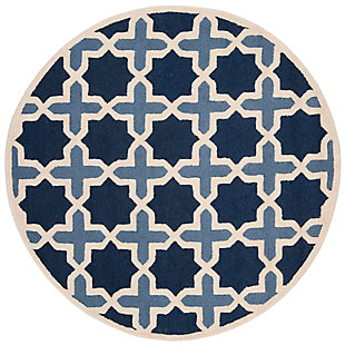 Cambridge 6' x 6' Round Wool Pile Rug, Blue/Ivory, large