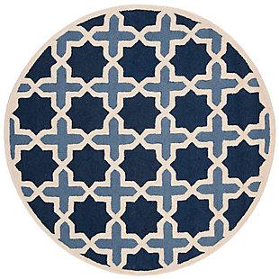 Cambridge 6' x 6' Round Wool Pile Rug, Blue/Ivory, large