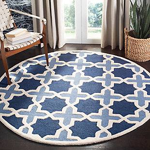 Cambridge 6' x 6' Round Wool Pile Rug, Blue/Ivory, rollover