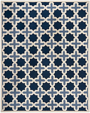 Cambridge 8' x 10' Wool Pile Rug, Blue/Ivory, rollover