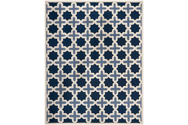 Cambridge 8' x 10' Wool Pile Rug, Blue/Ivory, large