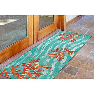 """Transocean Cirrus Sea Tree Indoor/Outdoor Rug Aqua 29""""x49"""", Blue, rollover"""
