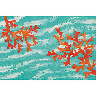 "Transocean Cirrus Sea Tree Indoor/Outdoor Rug Aqua 29""x49"", Blue, large"
