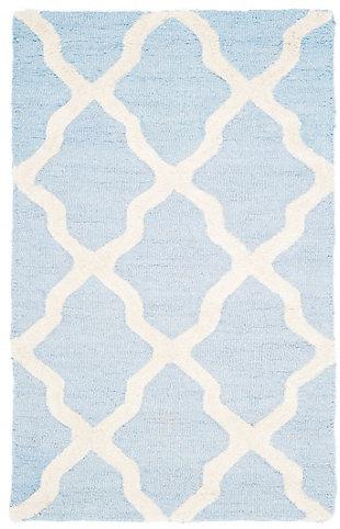 Cambridge 2' x 3' Wool Pile Rug, Light Blue/Ivory, large