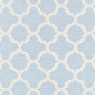 Cambridge 3' x 5' Wool Pile Rug, Light Blue/Ivory, large