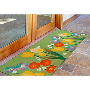 "Transocean Cirrus Flower Pops Indoor/Outdoor Rug Green 29""x49"", Green, rollover"