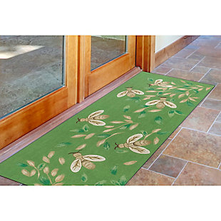 "Transocean Cirrus Flying Sweetness Indoor/Outdoor Rug Green 29""x49"", Green, rollover"