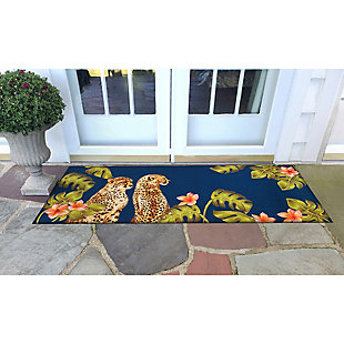"Transocean Cirrus Wild Cats Indoor/Outdoor Rug Jungle 29""x49"", Green, rollover"