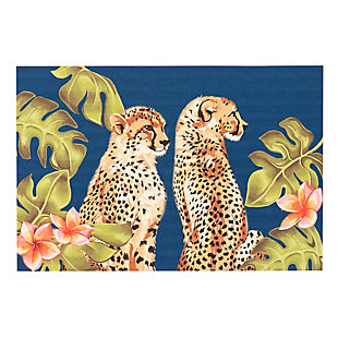 "Transocean Cirrus Wild Cats Indoor/Outdoor Rug Jungle 29""x49"", Green, large"