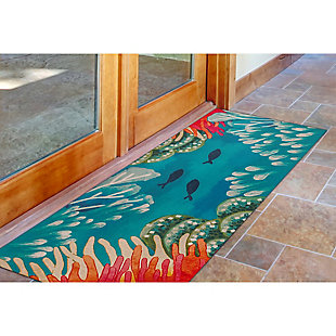 "Transocean Cirrus Aquatic Scene Indoor/Outdoor Rug Coral 29""x49"", Orange, rollover"