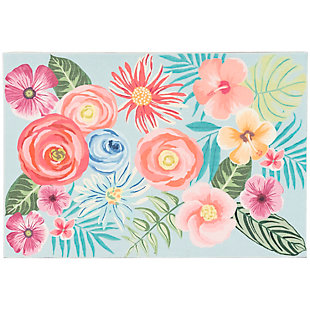 "Transocean Cirrus Floral Medley Indoor/Outdoor Rug Aqua 29""x49"", Blue, large"