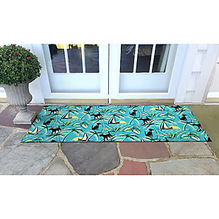 "Transocean Cirrus Hang Ten Indoor/Outdoor Rug Sunrise 29""x49"", Blue, rollover"