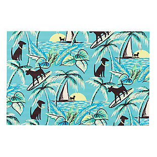 "Transocean Cirrus Hang Ten Indoor/Outdoor Rug Sunrise 29""x49"", Blue, large"