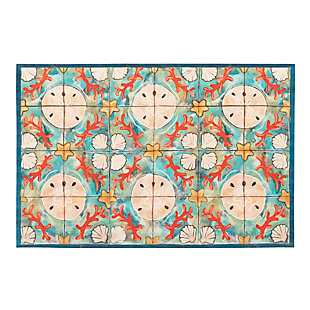 "Transocean Cirrus Beach Jewels Indoor/Outdoor Rug Ocean 29""x49"", Blue, large"