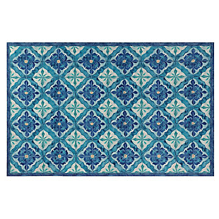 "Transocean Cirrus Talavera Indoor/Outdoor Rug Ocean 4'10""x7'6"", Blue, large"