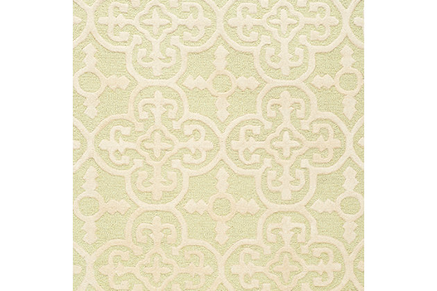 Cambridge 3' x 5' Wool Pile Rug, Light Green/Ivory, large
