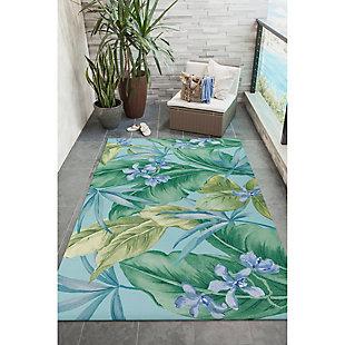 "Transocean Cirrus Island Floral Indoor/Outdoor Rug Aqua 4'10""x7'6"", Blue, rollover"