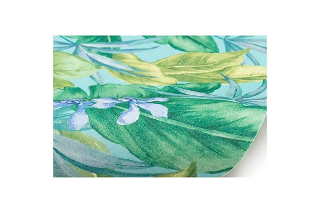 "Transocean Cirrus Island Floral Indoor/Outdoor Rug Aqua 4'10""x7'6"", Blue, large"