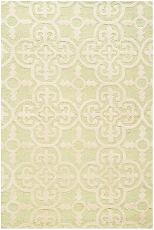 Cambridge 3' x 5' Wool Pile Rug, Light Green/Ivory, rollover