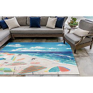"Transocean Cirrus Ocean Dogs Indoor/Outdoor Rug Ocean 4'10""x7'6"", Blue, rollover"