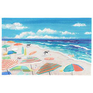 "Transocean Cirrus Ocean Dogs Indoor/Outdoor Rug Ocean 4'10""x7'6"", Blue, large"